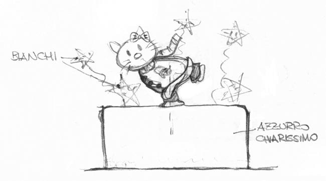 schizzo torta hello kitty pattinatrice