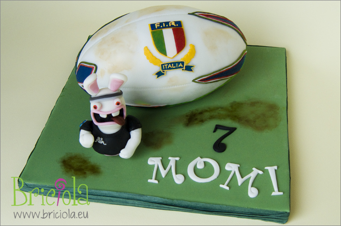 torta decorata raving rabbids rugby haka
