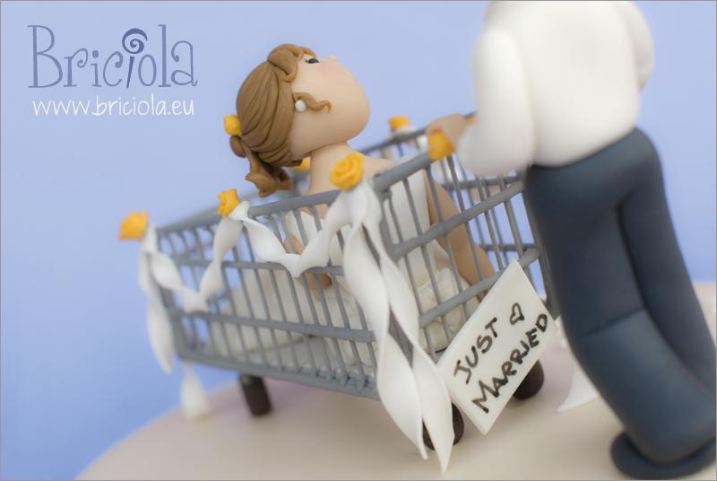 topper sposi carrello dietro-just married