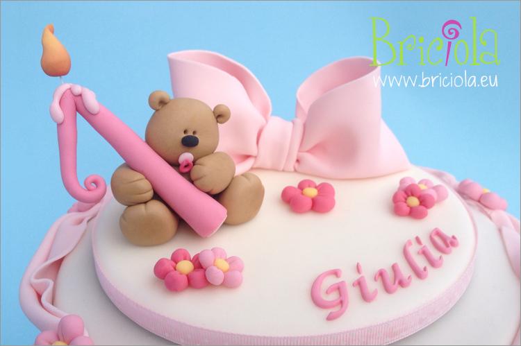 Topper orsetto e fiocco - primo compleanno