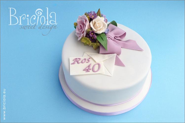 torta 40 anni - bouquet di fiori