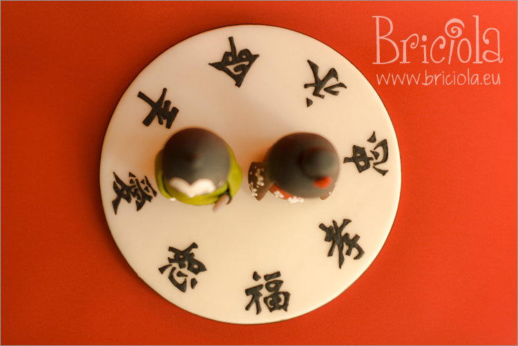 topper matrimonio - kokeshi - ideogrammi benaugurali